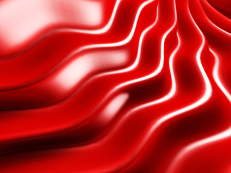 Elegant red metallic background with curved wave lines. 3d render illustration Stock Photo