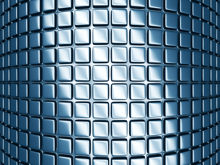 musing: Abstract blue cubes background wallpaper. 3d Render Illustration