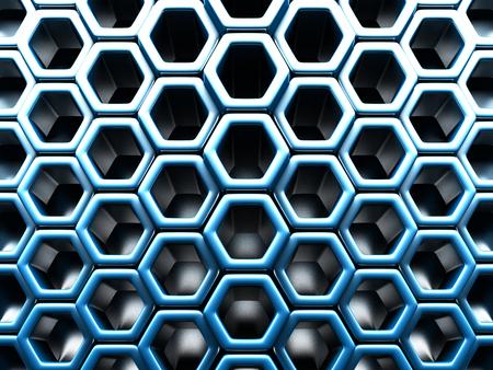 metal mesh: Futuristic Blue Hexagon Pattern Glossy Background. 3d Render Illustration
