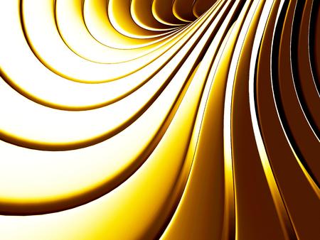 金色の抽象的なストライプ スパイラル背景。3 d レンダリング図 写真素材