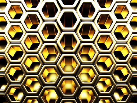 Bright Futuristic Golden Hexagon Pattern Background. 3d Render Illustration