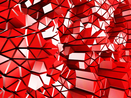 Abstract red low poly pattern glossy background. 3d render illustration