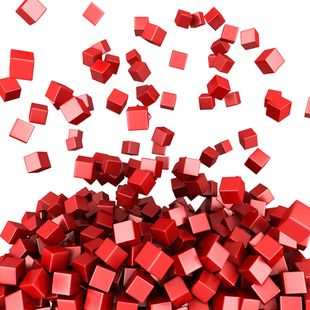 Falling red cubes abstract background. 3D render illustration Banco de Imagens