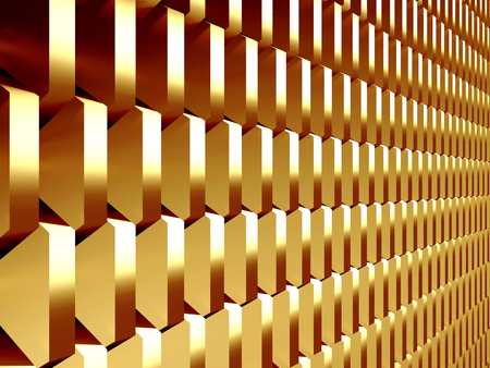 Golden cubes abstract futuristic background. 3d render illustration