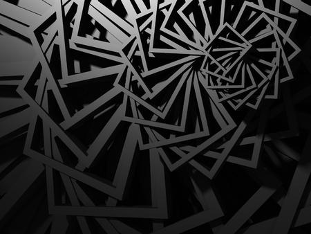 Dark Metallic Square Industrial Design Background. 3d Render Illustration
