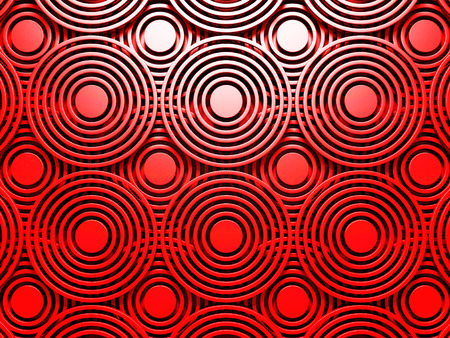 Abstract Red Round Pattern Wall Architecture Background. 3d Render Illustration
