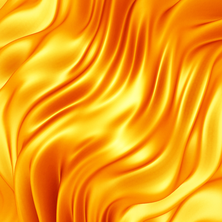 Golden satin silk cloth background with folds. 3d render illustration