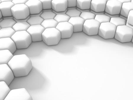 Abstraktes weißes Hexagon-Muster blockiert Wand-Hintergrund. 3d übertragen Illustration Standard-Bild - 82021607
