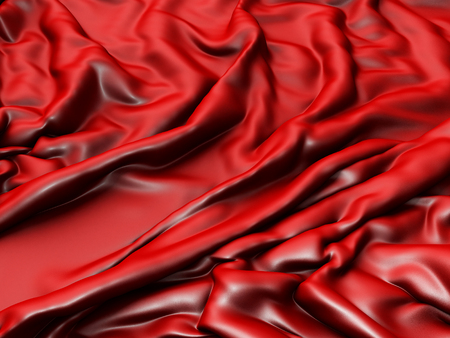 gently: Red silk satin fabric texture background. 3d render illustration Stock Photo