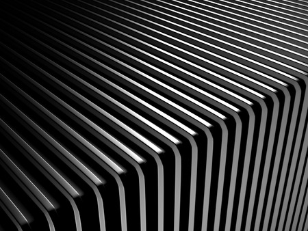 shiny black: Abstract dark silver stripe industrial background. 3d render illustration Stock Photo