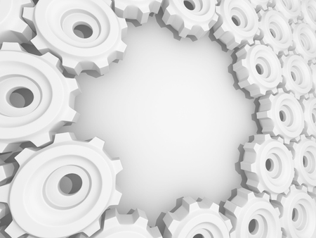 Metal Gears And Cogwheels On White Background. 3d Render Illustration
