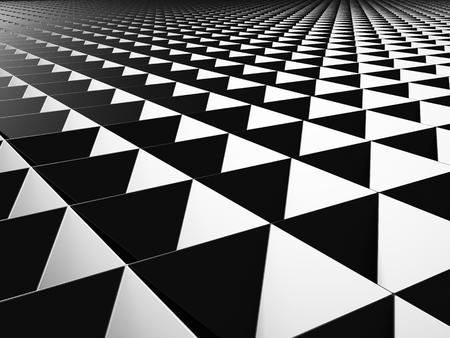 meshed: Black industrial metallic triangles pattern background. 3d render illustration