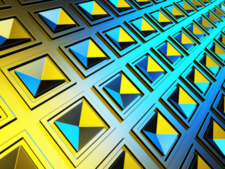 Abstract Blue Yellow Squares Pattern Wall Background. 3d Render Illustration