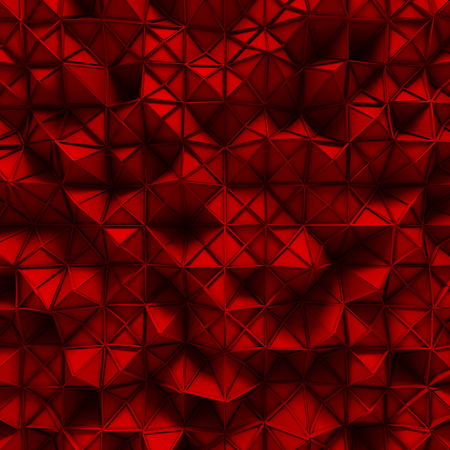 crimson colour: Red triangle poligons pattern wall background. 3d render illustration