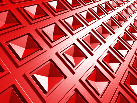 Bright Red Geometric Red Squares Pattern Background. 3d Render Illustration Stock Photo