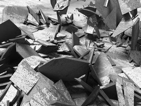 Concrete demolition cracked dark surface. 3d render illustration