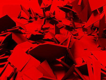 Broken cracked destruction red wall surface background. 3d render illustration