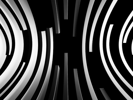 Abstract Dark Metallic Round Circles Design Background. 3d Render Illustration Stock Photo
