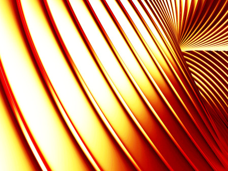 Golden striped waves abstract glossy background. 3d render illustration
