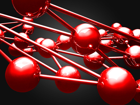 outsider: Many red glossy spheres. Abstract elegant background. 3d render illustration