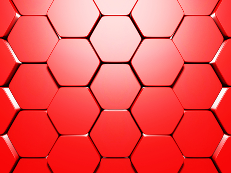 Abstract Glossy Red Hexagon Background. 3d Render Illustration Stock Photo