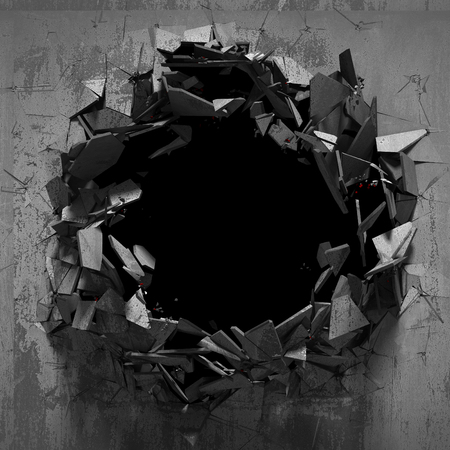 wasteland: Cracked explosion concrete wall hole abstract background. 3d render illustration Stock Photo