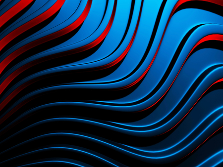 Elegance blue red wave stripe wall background. 3d render illustration Stock Photo