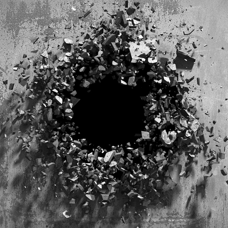 Cracked explosion concrete wall hole abstract background. 3d render illustration Stock Photo