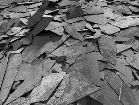 Dark concrete destruction surface with many chaotic broken pieces. Abstract background. 3d render illustration Banco de Imagens