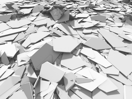 White broken cracked surface destruction ground. 3d render ilustration