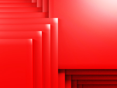 Bright Red Geometric Red Cubes Background. 3d Render Illustration