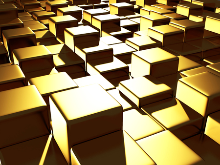 small business: Golden cubes abstract futuristic background. 3d render illustration
