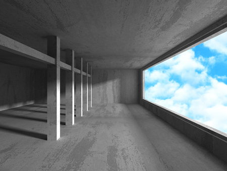 Empty urban empty room interior with windows to sky background. 3d render illustration