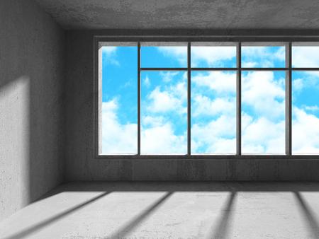 Leeg stedelijk lege kamer interieur met raam naar hemelachtergrond. 3D render illustratie Stockfoto