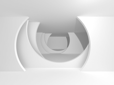 Abstract Modern White Architecture Background. 3d Render Illustration Archivio Fotografico