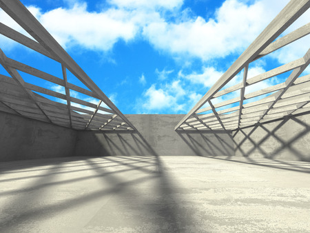Concrete room wall construction on cloudy sky background. 3d render illustration