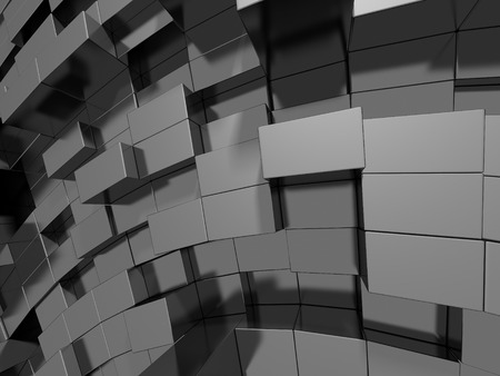 Abstract Silver Metal Cubes Background. 3d Render Illustration