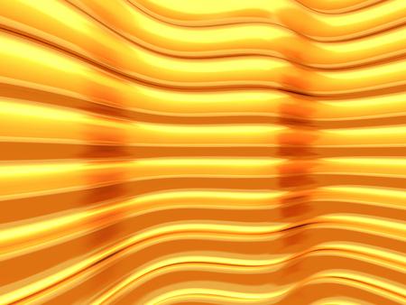 Glossy golden elegant wave lines background. 3d render illustration Stock Photo