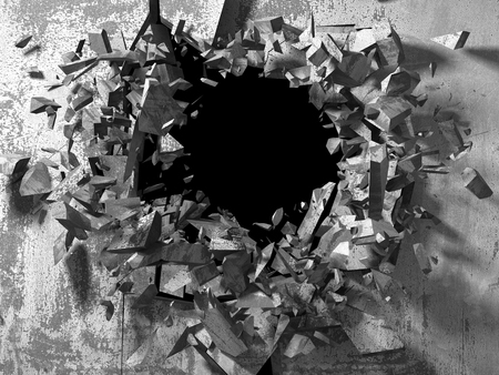 Dark cracked broken wall in concrete wall. Grunge background. 3d render illustration