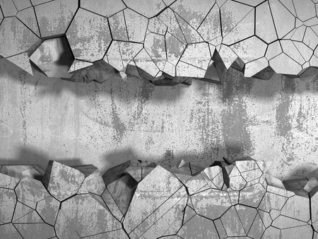 Dark cracked broken wall in concrete wall. Grunge background. 3d render illustration