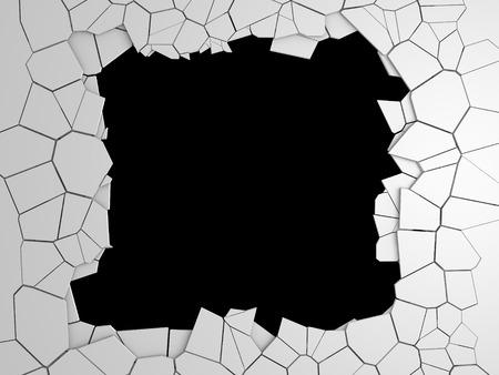 Dark destruction cracked hole in white stone wall. 3d render illustration Stock Photo