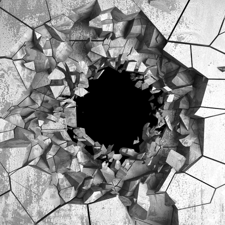 Dark cracked broken hole in concrete wall. Grunge background. 3d render illustration 版權商用圖片