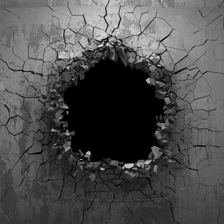 Dark cracked broken hole in concrete wall. Grunge background. 3d render illustration Zdjęcie Seryjne