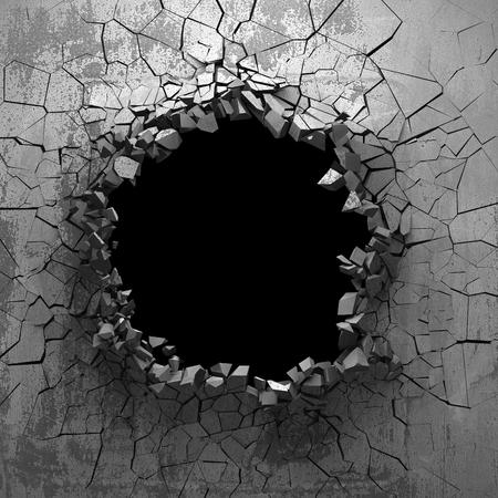 Dark cracked broken hole in concrete wall. Grunge background. 3d render illustration Фото со стока
