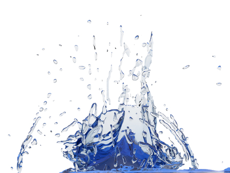Splashing blue sparkling pure water. Abstract nature background. 3d render illustration