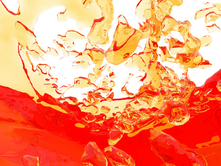 Yellow orange liquid splash isolated on white background. 3d render illustration