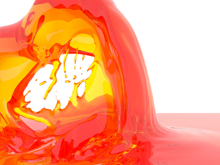 Yellow orange liquid splash isolated on white background. 3d render illustration Imagens - 110374423