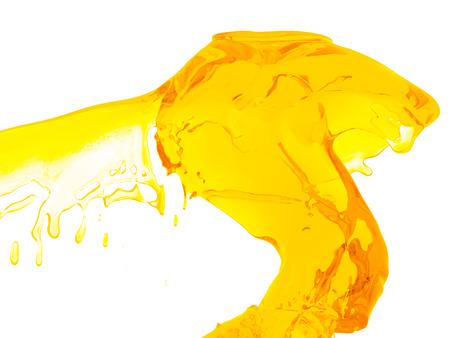 Yellow orange liquid splash isolated on white background. 3d render illustration