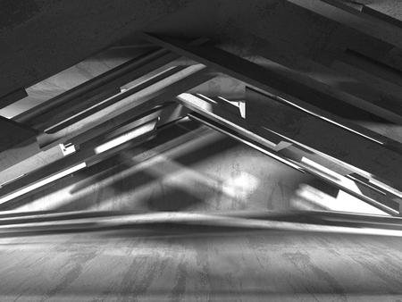 Concrete architecture background. Abstract empty dark room. 3d render illustration