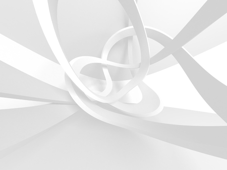 Futuristic White Architecture Design Background. 3d Render Illustration Imagens